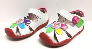 Pediped Daisy White Multi Toddler Girls Sz 6-6.5 Closed Toe Sandal Flower