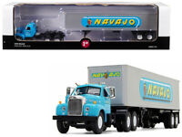 """Mack B-61 Day Cab with 40' Vintage Trailer """"Navajo"""" Turquoise and Silver 1/64..."""