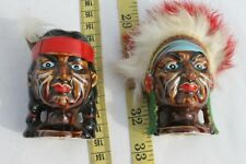 Indian Head Vintage Salt & Pepper Shakers Collectibles Kitchenware Kitchen