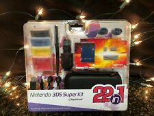 NINTENDO 3DS SUPER 22 PC ACCESSORY KIT USB CAR CHARGER STYLUS EARPHONE CARD CASE