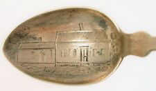 ANTIQUE ENGRAVED HOUSE SCENE EARLY AMERICAN COIN SILVER SPOON PORTER & PRINCE !