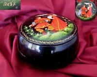 1980s VINTAGE RUSSIAN USSR HAND PAINTED METAL TRINKET BOX SIGNED