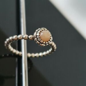 Pandora Pink Opal October Birthstone Blooms Bubble Ring Size 58 190854 Free Post