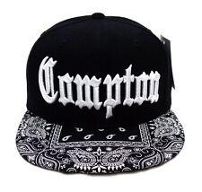 Black Compton Vintage Embroidered Hip Hop Flat Bill Bandana Snapback Cap Hat