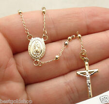 "17"" 2.5mm Diamond Cut Bead Cross Rosary Chain Necklace Real 14K TriColor Gold"
