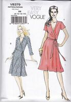 Vogue Very Easy Sewing pattern Misses' Front Wrap  Dress Sizes 8 - 22 V8379