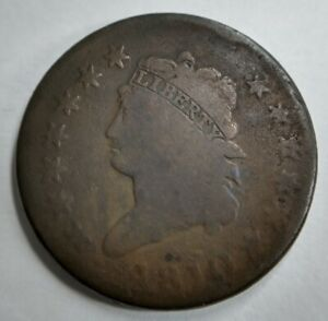 1810 Large Cent Very Good VG almost Fine F Some Discoloration S 284