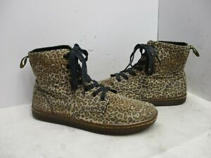 Dr Martens Hackney Cheetah Print Canvas Lace Up Ankle Boots Womens Size 9