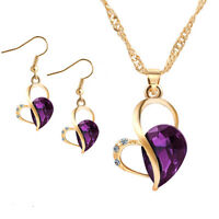 Fashion Love Heart Jewelry Set Gold Plated Necklace Earrings Crystal Wedding New