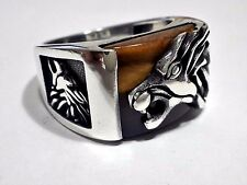 Lion Head  3D Tiger Eye Gemstone Solid 925 K Sterling Silver Mens Ring