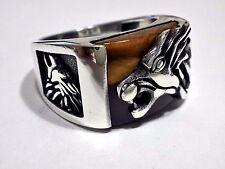 Lion Head  3D Tiger Eye Gemstone Solid 925 K Sterling Silver Men's Ring Size