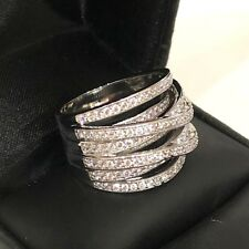Gorgeous Diamond Paved Wrap Band Ring Women Wedding Engagement Jewelry Size 6.5