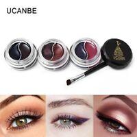 2 Colors Makeup Gel Eyeliner Waterproof Long Lasting Eye Liner Cream with Brush