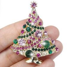 Cute Christmas Tree Pink Green Austrian Crystal Pin Brooch Gold Tone Women Gift