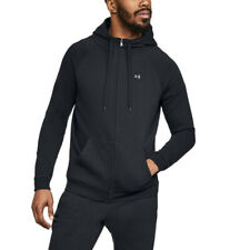 Under Armour Mens Rival Fleece Full Zip Hoodie Black Sports Gym Breathable