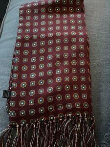 Peckham Rye Maroon Geometric Pattern 100% Silk Scarf  BNWOT