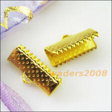 20 New Gold Bronze Silver Plated Over Clip Tips Cord Crimp Ends Bead Caps 25x8mm