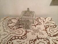 Jeannette Glass Clear Covered Wedding Cake Box Candy Dish
