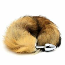 Magic Soft False Fox Tail With Stainless Steel Plug Romance Role Play Game Gift