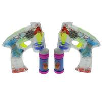 2x Bubble Gun Seifenblasenpistole LED/ Sound mit 4x Seifenbehälter Seifenwasser