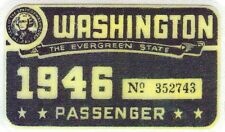 1946 WASHINGTON Registration WINDSHIELD Sticker Decal tab/tag PASSENGER/CAR -New