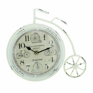 NEW Rustic White Penny Farthing Bicycle Shaped Mantel Clock