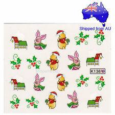 Christmas Winnie the Pooh & Piglet Nail Art Water Transfer Decal
