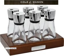 COLE & MASON ENGLAND 6 Crafted Herb & Spice Rack 100% Walnut Stained Wood £35
