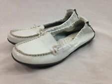 Hush Puppies Shoes Womens 8 White Moyen Loafer Flex Slip On Stretch Leather