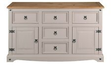 Corona Grey 2 Door 5 Drawer Large Sideboard - Mexican Solid Pine
