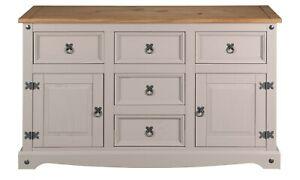 Corona Grey 2 Door 5 Drawer Large Sideboard - Mexican Solid Pine