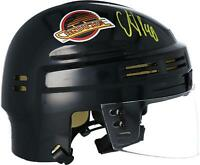 Elias Pettersson Vancouver Canucks Signed Black Skate Throwback Logo Mini Helmet