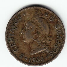 DOMINICAN REPUBLIC 5 centavos 1944 KM18a Ag.350 1-yr type Average Uncleaned RARE