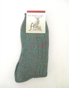 Fia - Irish Woolen Walking Socks - Merino Wool Blend   Large   Color: Dark Green