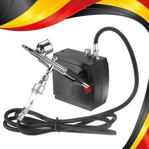 Double Action Airbrush Set Airbrushpistole mit Mini Leise Kompressor DE Stock