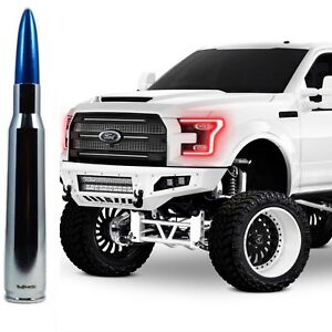 Chrome With Blue Tip Bullet Antenna for Ford F150 F250 F350 Billet Aluminum 5''