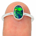 Natural Ethiopian Opal 925 Sterling Silver Ring Jewellery Size UK O US 7.5
