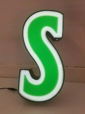 Letter S Retro Marquee Channel Letters S Vintage Sign Green And White Led