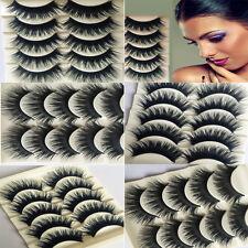 5 Pairs of Thick Natural Black Fake False Eyelashes Eye Lashes Makeup NO Glue