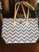 Dooney Bourke Handbag Purse NWT Wren Zip Tote Bl/white Leather Straps Satchel