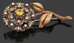 Antique heavy 18K YG 2.04CT VS diamond & Yellow sapphire enamel flower brooch