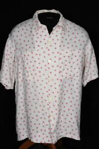 VERY RARE VINTAGE JAMAICAN 1950'S OFF WHITE & PINK LINEN PRINT SHIRT SIZE LARGE