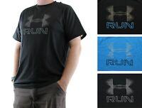 Under Armour T-Shirt Men's HeatGear Crew Neck Short Sleeve RUN Logo Fitted Shirt