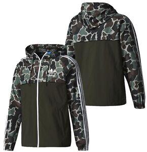 New Adidas Camo Rev Windbreaker Camouflage Jacket Multicolor Hoodie BS4907
