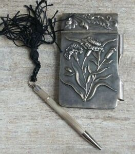 ANTIQUE HALLMARKED 925 STERLING SILVER MINI NOTEBOOK & PEN RARE COLLECTABLE
