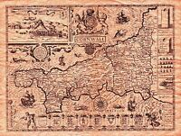 MAP ANTIQUE SPEED 1614 CORNWALL COUNTY OLD LARGE REPLICA POSTER PRINT PAM1228