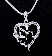 Lovely New Dove Bird Heart Austrian Crystal Pendant Charm Necklace Bridal