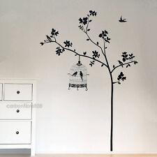 Arbre et Cages à oiseaux muraux Stickers autocollant d'Art vinyle papier amovible maison Décoration bricolage