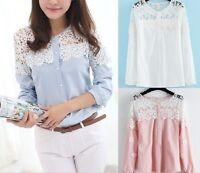 Women Floral Lace Chiffon Long Sleeve Blouse Tops Shirt Size 4 6 8