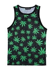 Cannabis Leaves Black and Green Tank Top Vest legalise festival weed dope top
